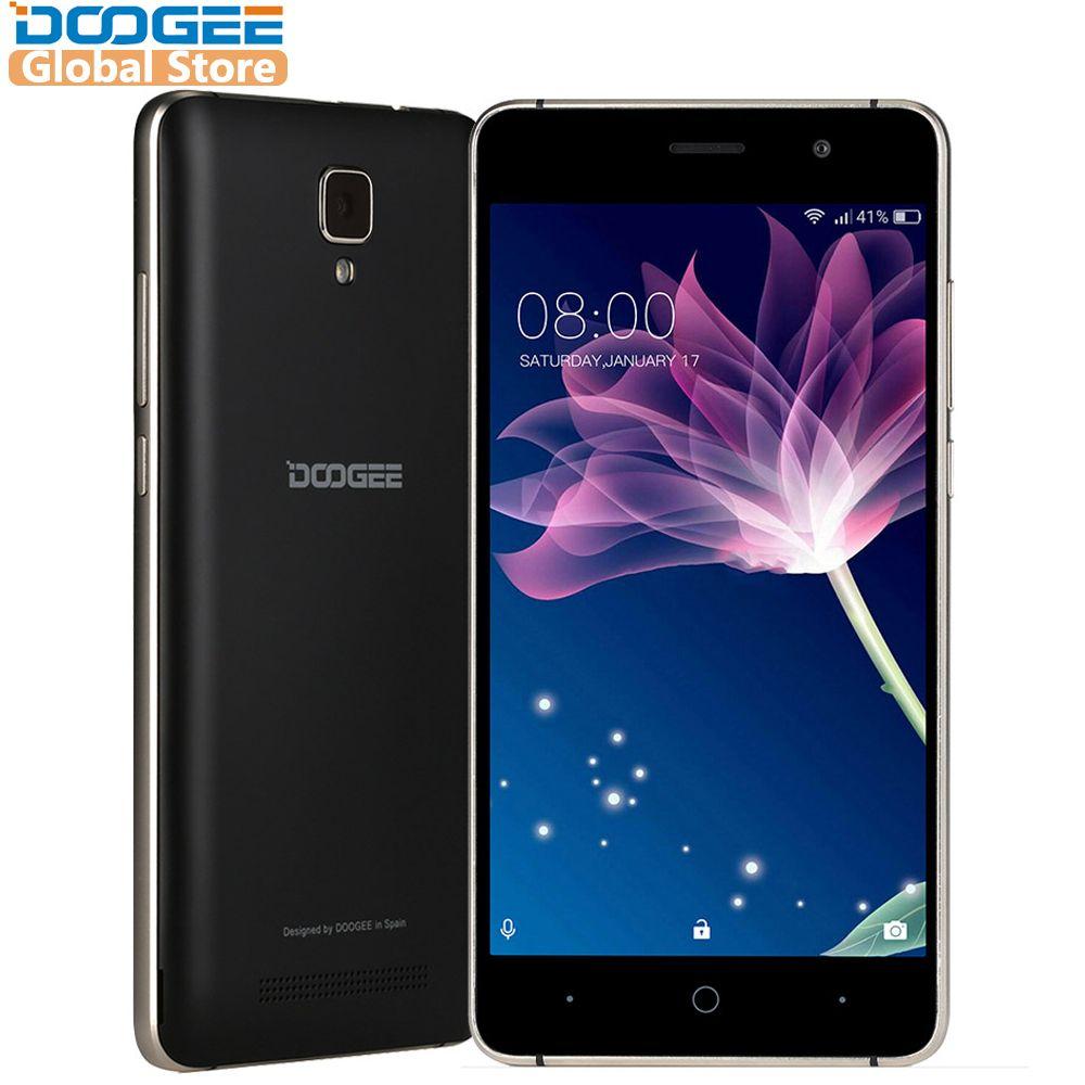 DOOGEE X10s téléphones mobiles 5.0 pouces IPS 1 GB 8 GB Android6.0 téléphone intelligent double SIM MTK6580 1.3 GHz 5.0MP 3360 mAH WCDMA GSM téléphone portable