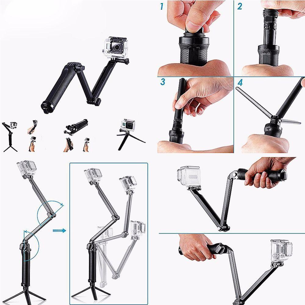 DSD TECH for gopro accessories mount adapter monopod 3 way for gopro Hero6 5 4 3 Black also for SJCAM Sj4000 Sj5000 EKEN  H9 13A