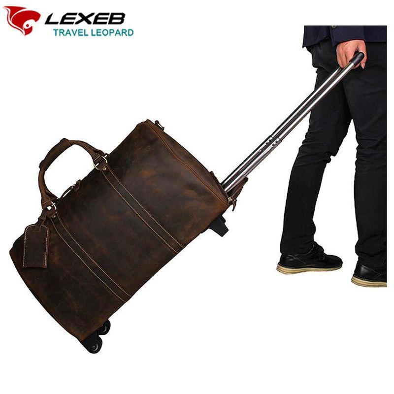 Handgepäck Reisetaschen Verpackung Vubes LEXEB Echtem Leder Koffer Auf Rädern Straße 21 Zoll Geschäfts Klassische Braun Koffer