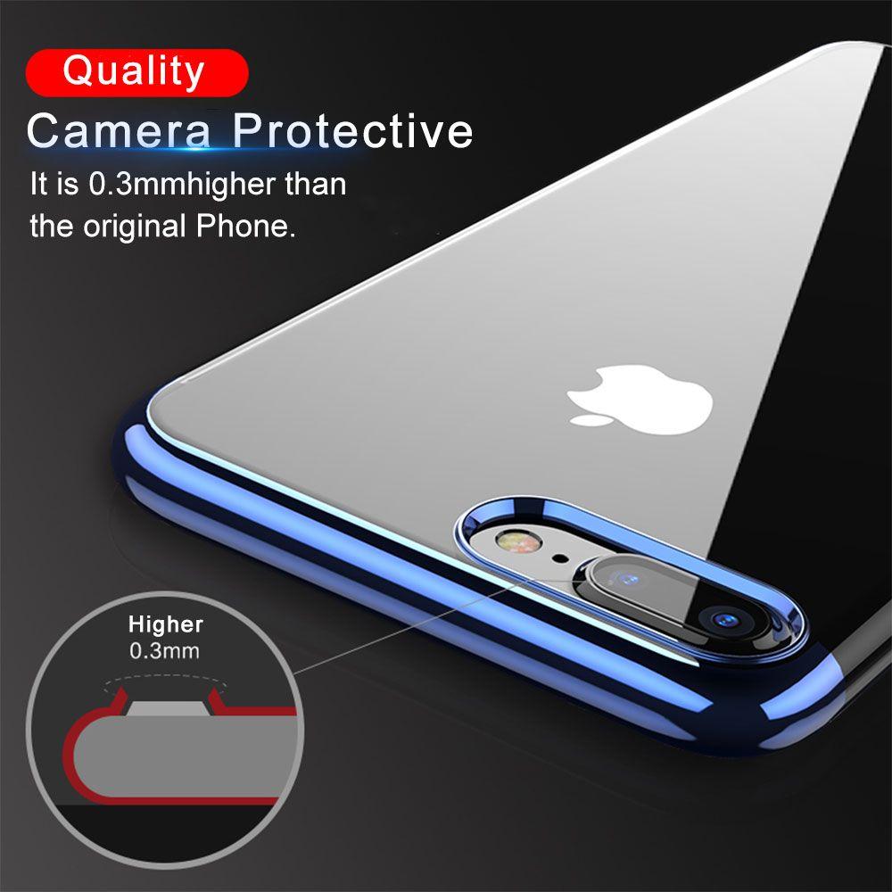 FLOVEME Luxus Überzogene TPU Fall Für iPhone X 10 Transparent Ultra dünne Silikon Abdeckung Für iPhone 7 6 6 S Plus Telefon Zubehör