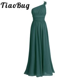 TiaoBug One Shoulder Bridesmaid Dress Summer Chiffon Beach Wedding Party Gowns Prom Long Bridesmaid Maxi Tulle Lace Dresses