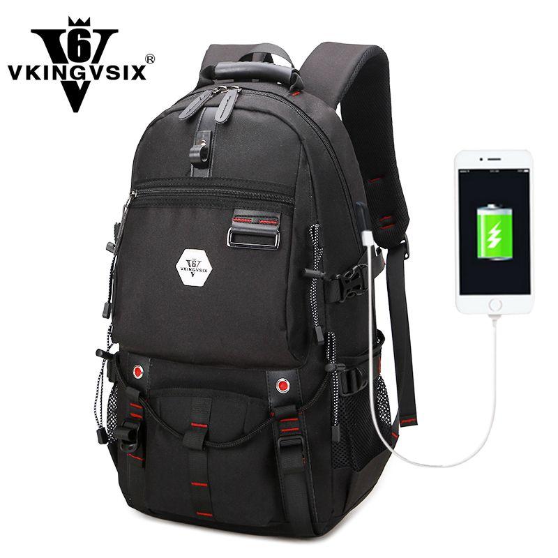 VKINGVSIX USB Waterproof backpack Women Men 15.6 inch laptop backpacks Travel teen school bags boys back <font><b>pack</b></font> mochila bagback