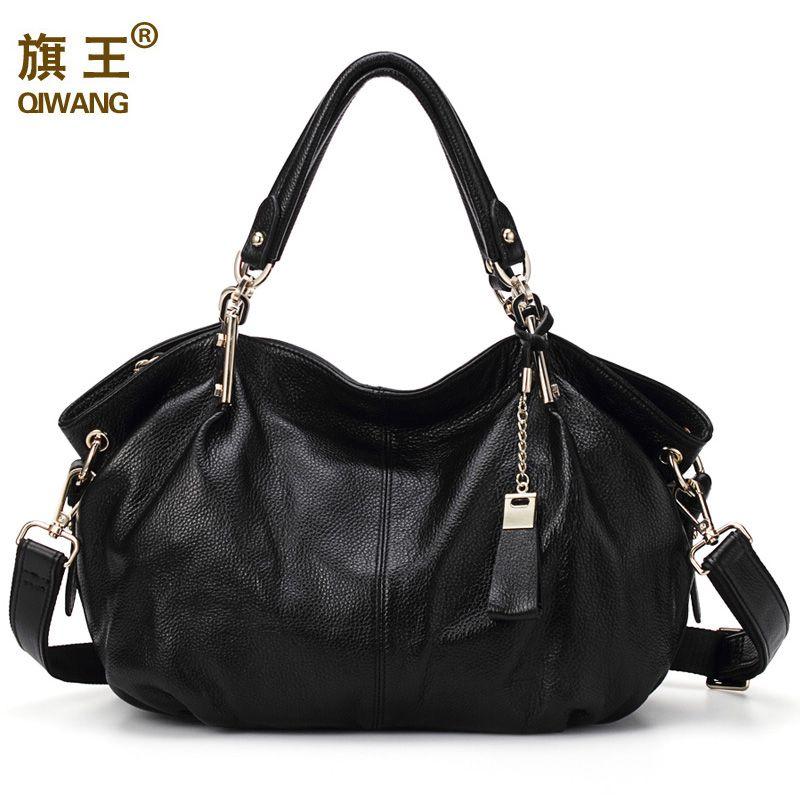 Qiwang Women Genuine Leather Hobo Bag Female Real Leather Handbag Luxury Woman Office <font><b>Fashion</b></font> Bag Large Classic Shoulder Bags