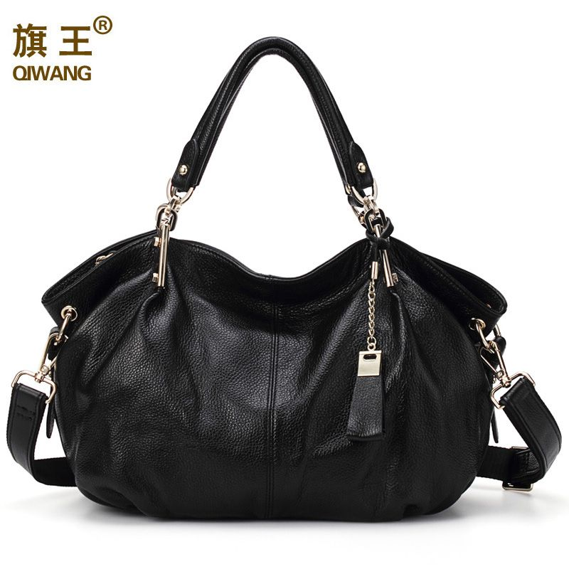 Qiwang <font><b>Women</b></font> Genuine Leather Hobo Bag Female Real Leather Handbag Luxury Woman Office Fashion Bag Large Classic Shoulder Bags