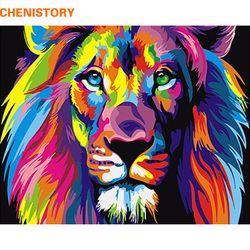 Sans cadre Coloré Lion Animaux Peinture Abstraite Diy Numérique Paintng By Numéros Moderne Mur Art Photo Pour La Maison Mur Motifs