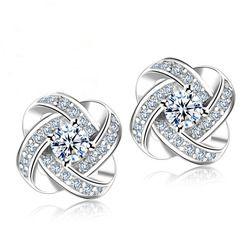 Jemmin кристалл серьги 925 серебро узел цветок серьги гвоздики для женщин Brincos Bijoux Свадебные украшения