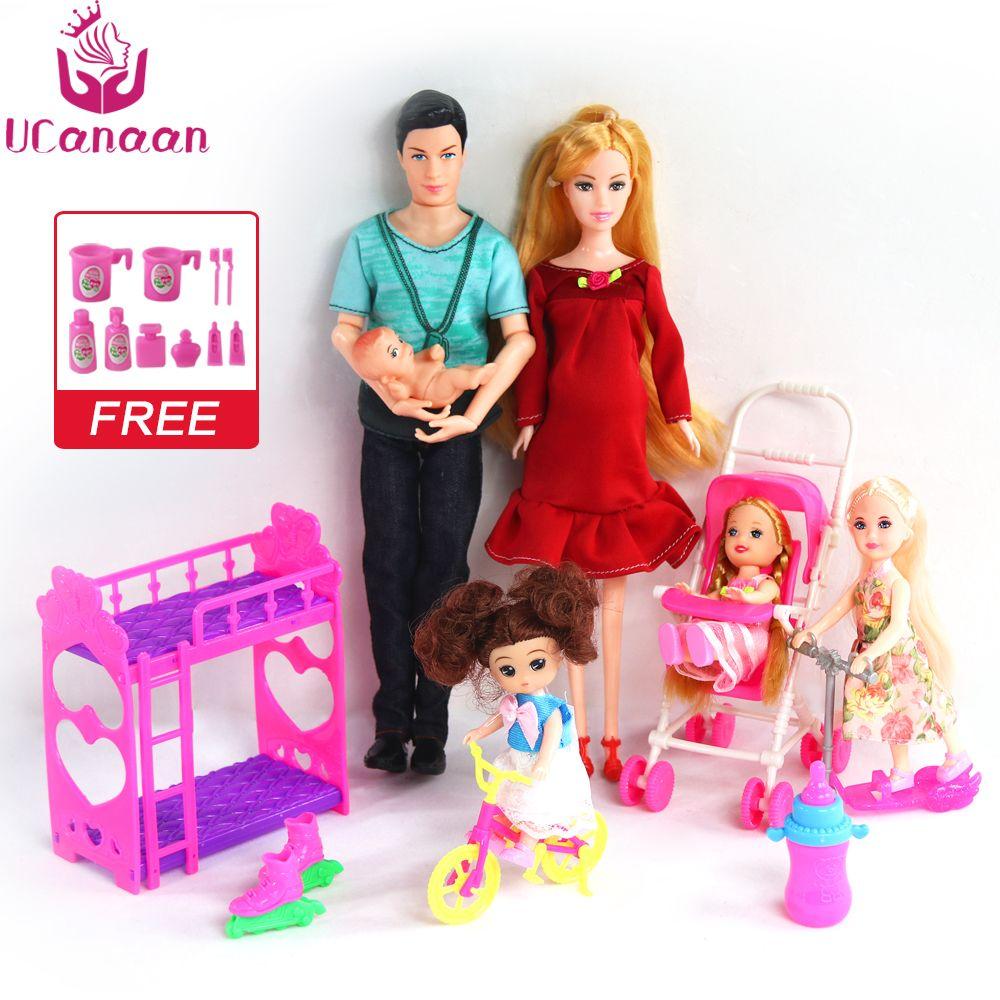 UCanaan 6 personnes famille poupée costumes maman/papa/fils bébé/Kelly/chariot filles jouets mode poupée enceinte enfant jouets