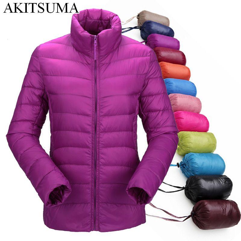 2017 women <font><b>ultra</b></font> light down jacket winter duck down jackets women slim thin long sleeve parka zipper coats pockets AKITSUMA