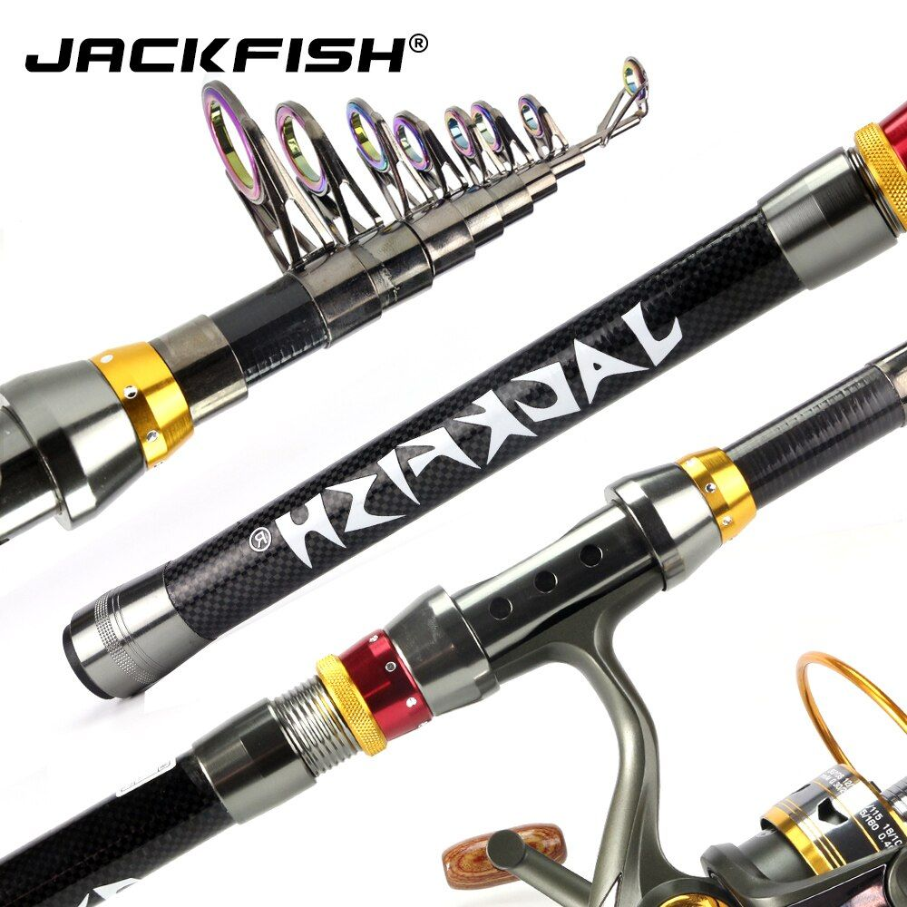 Canne à pêche télescopique de JACKFISH 99% en fibre de carbone de 1.8-3.6m canne à pêche de mer courte canne à pêche télescopique Pôle de pêche en rotation