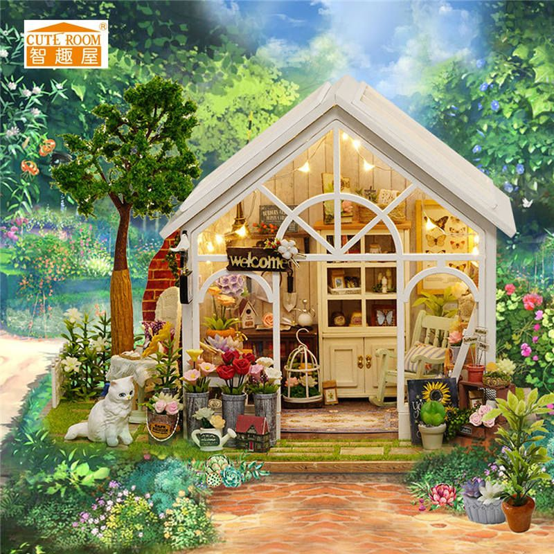 Cuteroom DIY Handmake Dollhouse Miniature Furniture Kit LED Kids Birthday Gift Flower House Toy Gift For Children