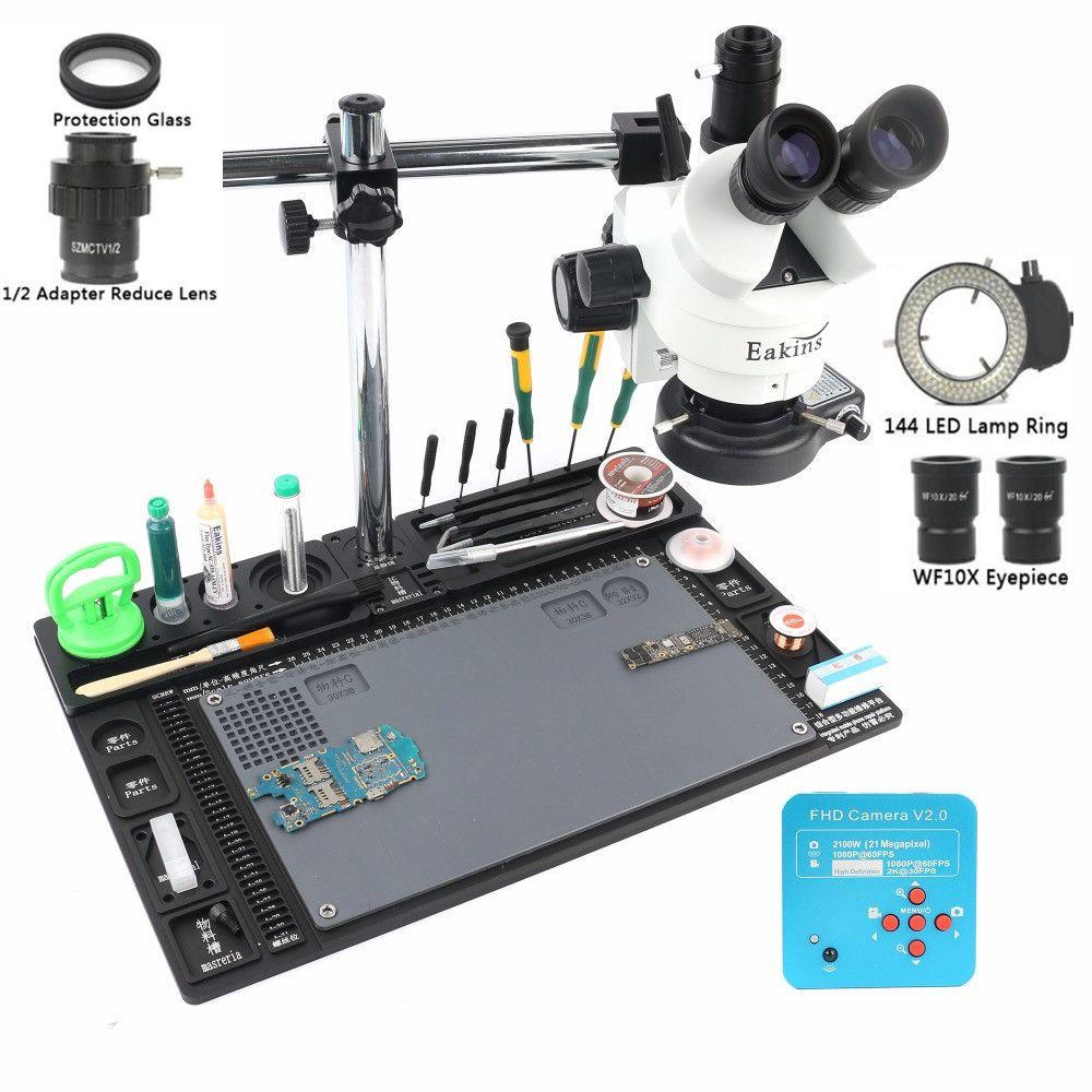 21MP 2K HDMI Microscope Camera 1/2 lens adapter Simul-focal Trinocular Stereo Microscope 3.5-90X Single Arm Rotating Bracket