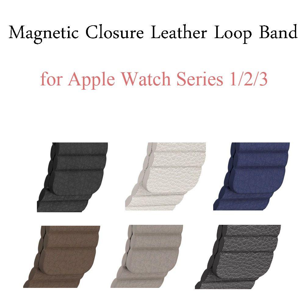 Véritable Cuir Boucle Bande pour Apple Bande de Montre 42mm 38mm Bracelet Bracelet pour iWatch Série 1/2/3 Réglable Fermeture Magnétique Ceinture
