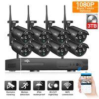 2MP CCTV системы 1080 P 8ch HD Беспроводной NVR комплект 3 ТБ HDD Открытый ИК ночь IP Wi Fi Камера Безопасности товары теле и видеонаблюдения Hiseeu