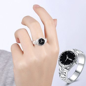 Lovers Creative Steel Finger Ring Watch Women Mens Top Brand Diamond Dial Quartz Watch Rings Couple Gift Just a Decoration #Ju