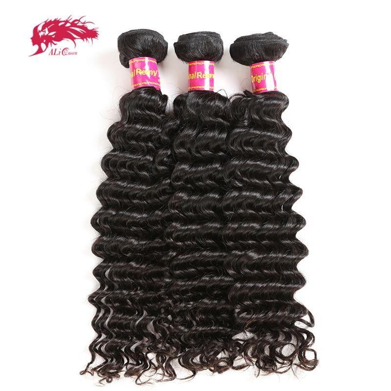 3Pcs Deep Wave Brazilian Hair Weave Bundles Remy Hair Weaving Human Hair Extension Natural Color #1B Ali Queen Hair Products