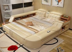 Muebles De Madera Furniture Hot Sale New Moveis Para Quarto Modern Bedroom Set Massage Soft Bed With Hifi Speaker Bluetooth