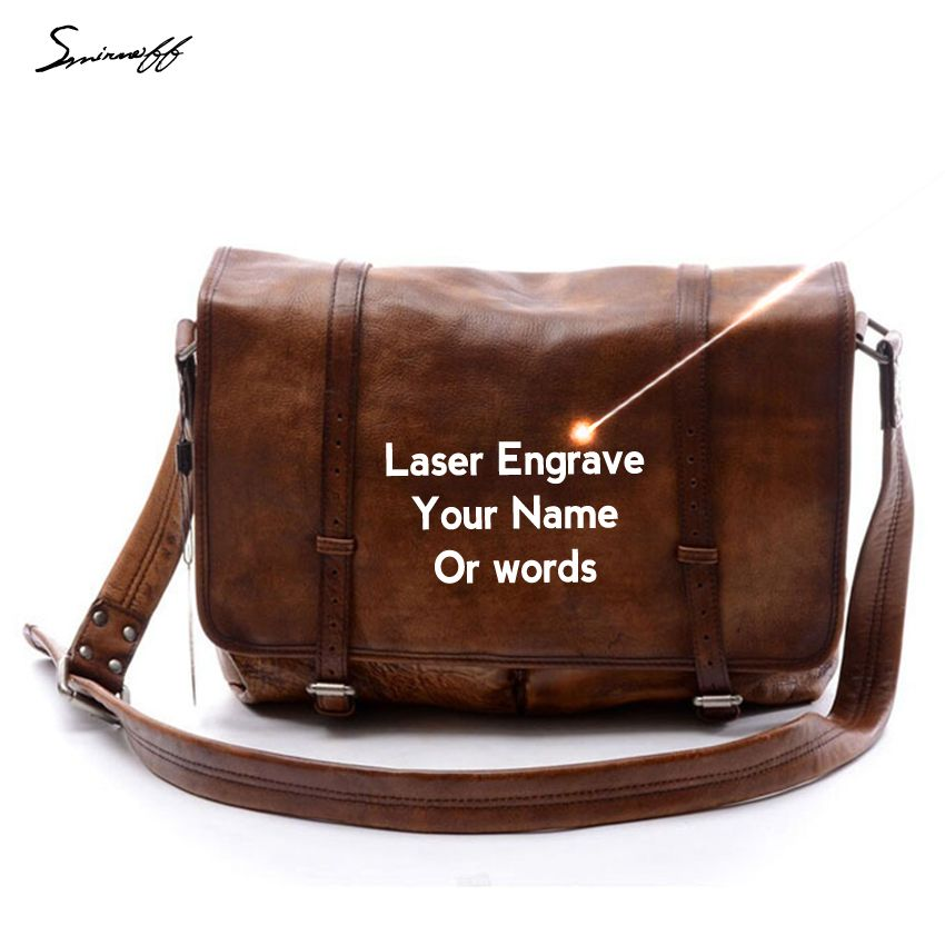 Man Fashion Handbag Famous Brand Vegetable Leather Handbag Laser Engrave Motto Genuine Leather Bag Male Retro Messenger Bags