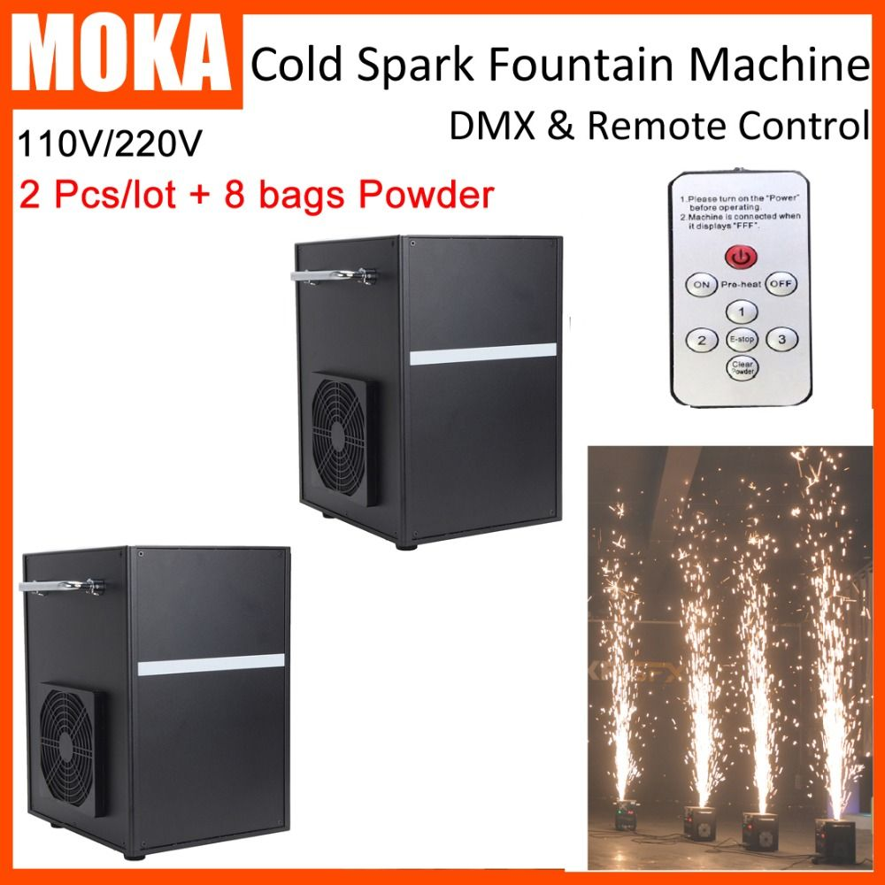 2 Pcs/lot with 8 bags Powder DMX remote cold spark fountain machine indoor firework non-pyrotechnic sparkler for stage effects