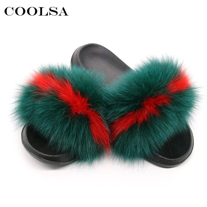 Coolsa Summer Women Fox Fur Slippers Real Fur Slides Female Indoor Flip Flops Casual Raccon Fur Sandals Vogue Fluffy Plush Shoes