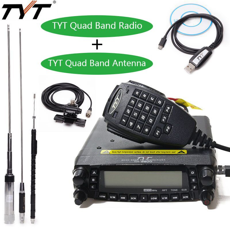 TYT TH-9800 Plus Quad Band Car Radio Station+Antenna/Cable 50W Transceiver TH9800 VHF UHF mobile Radio Walkie talkie for car