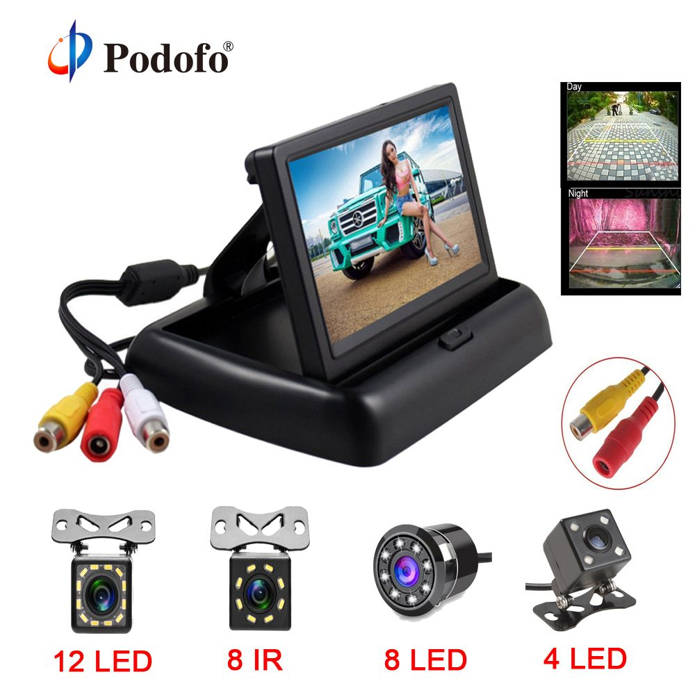 Podofo 4.3 inch HD <font><b>Foldable</b></font> Car Rear View Monitor Reversing LCD TFT Display with Night Vision Backup Rearview Camera for Vehicle
