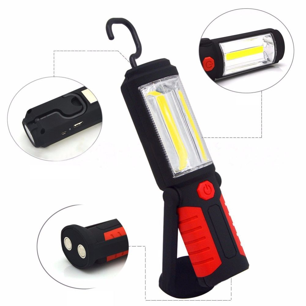 Powerful Portable 3000 Lumens COB LED Flashlight Magnetic Rechargeable Work Light 360 <font><b>Degree</b></font> Stand Hanging Torch Lamp For Work