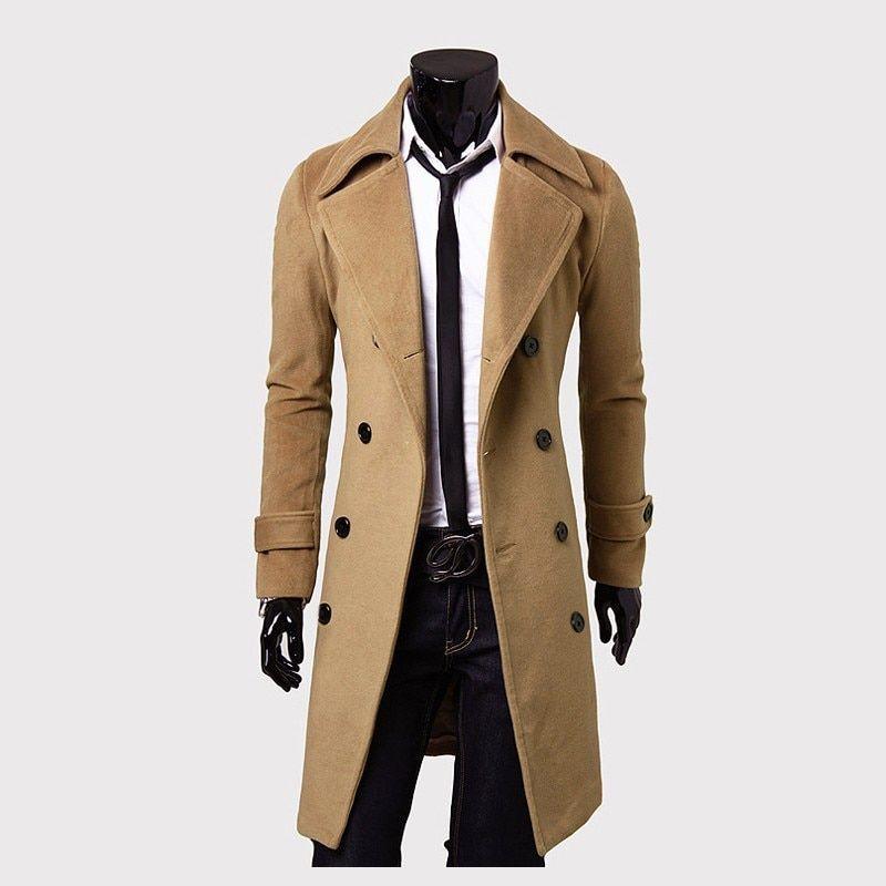 Mens Trench Coat 2017 New Fashion Designer Men Long Coat Autumn Winter Double-breasted Windproof Slim Trench Coat Men Plus Size