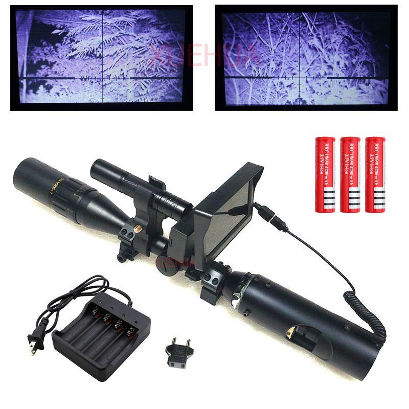 Hot nouveau Sniper extérieur chasse optique vision nocturne lunette de visée tactique portée de fusil avec chargeur de batterie LCD et lampe de poche IR