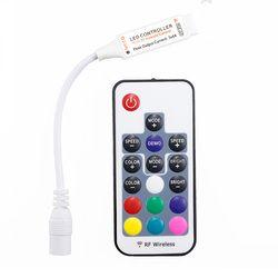 Мини светодиодный RGB пульт дистанционного управления DC5-24V 17key радиочастотный контроллер с 4pin Женский DC для 5050 12A RGB светодиодные ленты ленточ...
