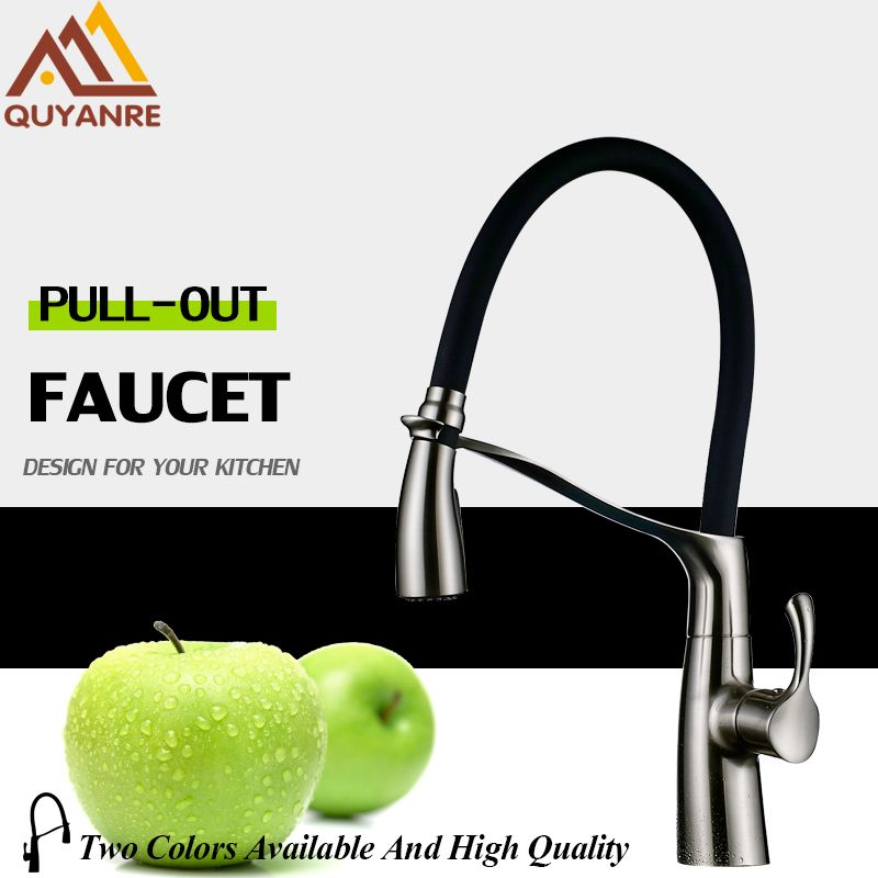 Quyanre Kitchen Sink Faucet Tap Brushed Nickel Pull Down Out Spray Dual Function Single Handle Mixer Tap Kitchen Sink Water Tap