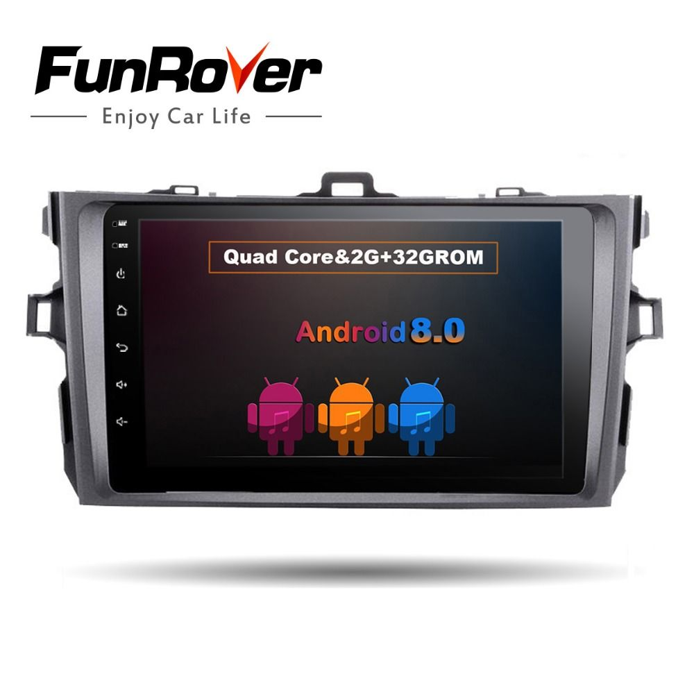 Funrover android 8.0 car dvd gps navigation for Toyota corolla 2007 2008 2009 2010 2011 car dvd radio gps stereo 2 din 2G+32GROM