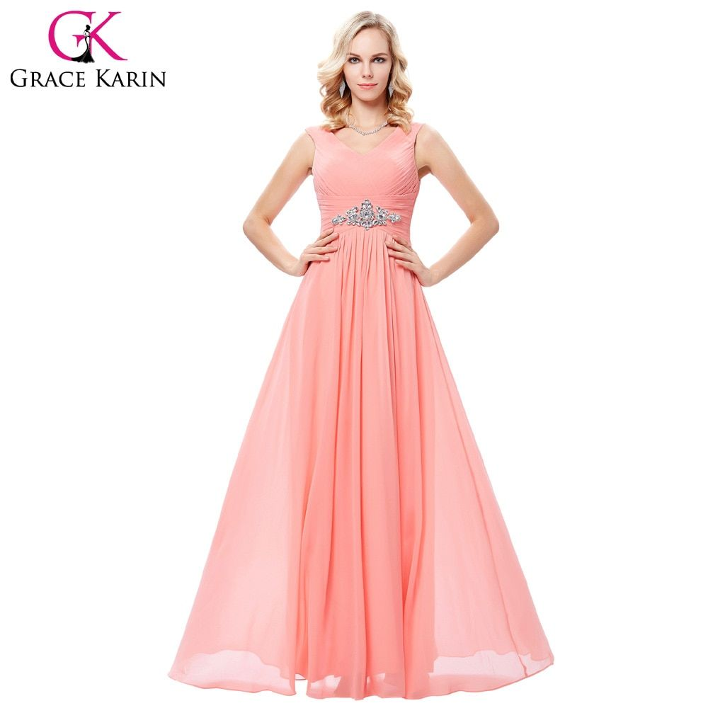 Coral Evening Dresses Grace Karin Elegant Beading Chiffon Gowns Robe de Soiree 2017 Blue Long Fitted Evening Dress Brands New