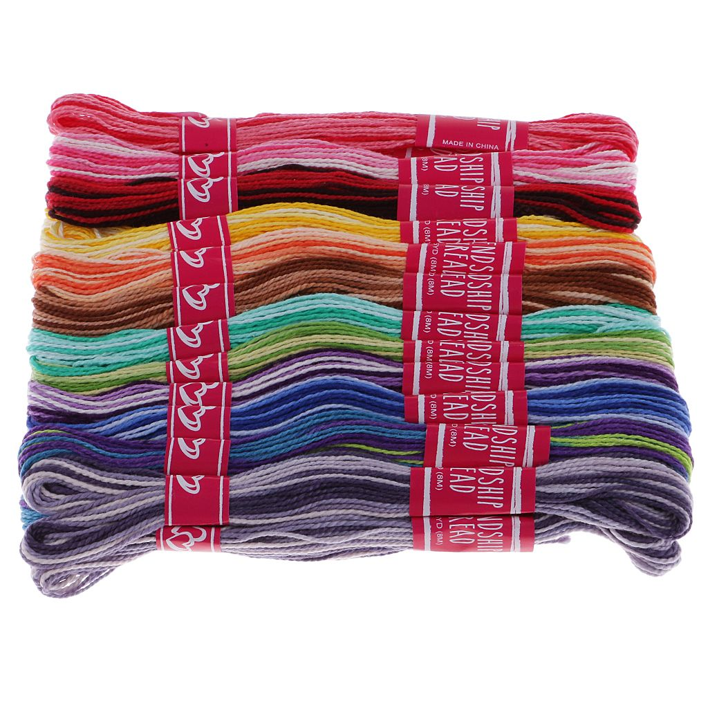 fityle 24 Pieces Cotton Cross Stitch Embroidery Floss Lot Sewing Threads Skeins DIY Set Kit