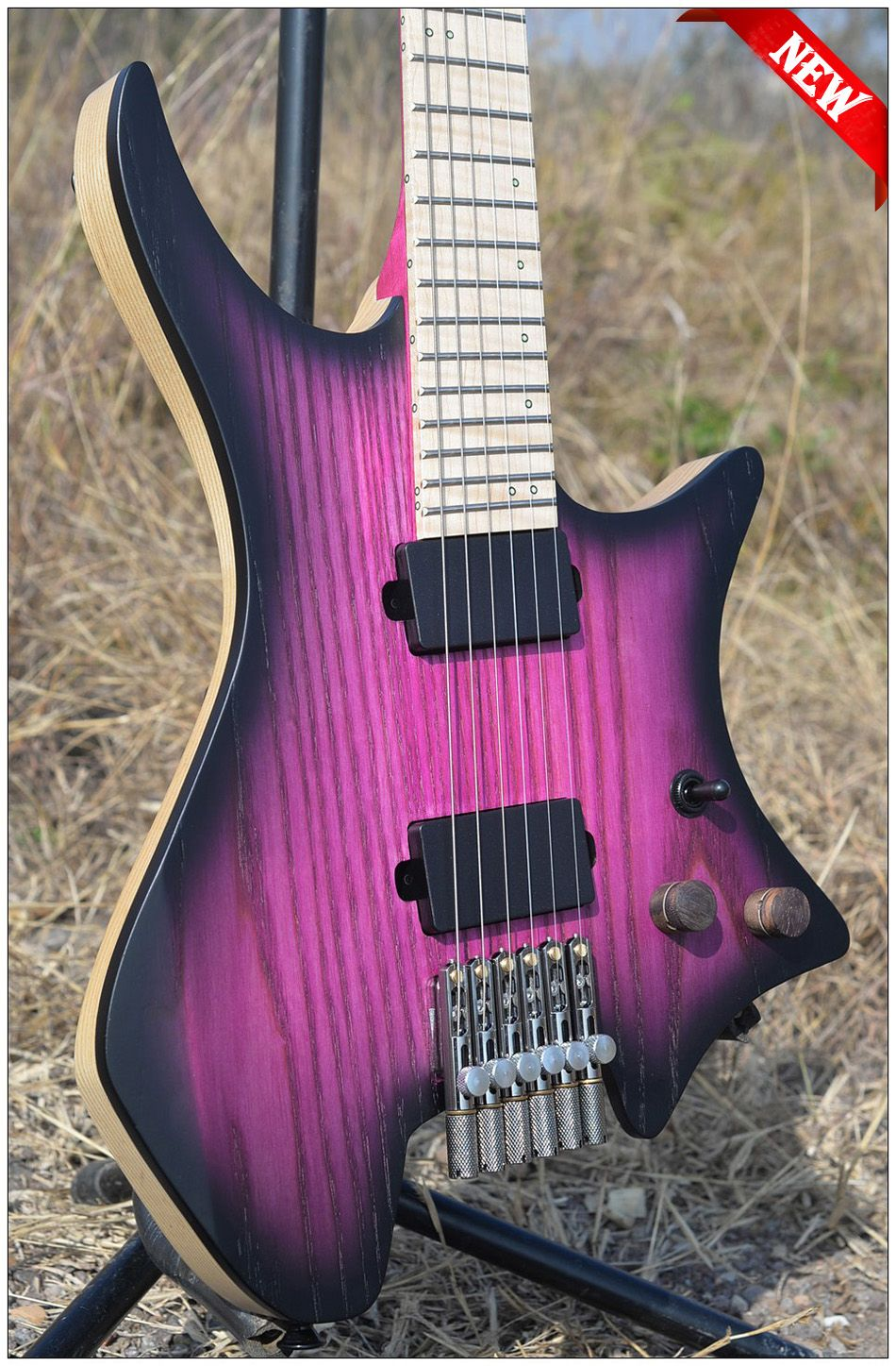 2018 New NK Headless guitar Fanned Fret guitars steinberger style Model Purple burst Color Flame maple Neck Guitar free shipping