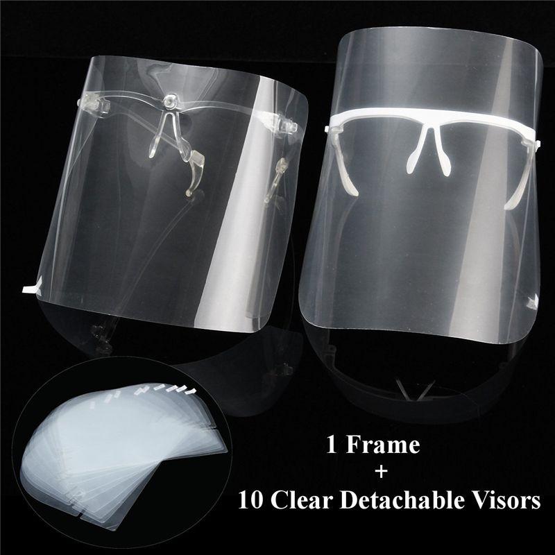 Multi-Funktion 10 stücke Full Face Schild Visiere + 1 Regal Öl-Splash Proof Staub-Proof Gesicht schutz Maske Für Kochen Malerei Arbeit