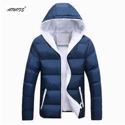 2018 nueva marca de invierno chaqueta para los hombres con capucha abrigo casual mens gruesa capa masculina delgada ocasional del algodón acolchado abajo abrigo