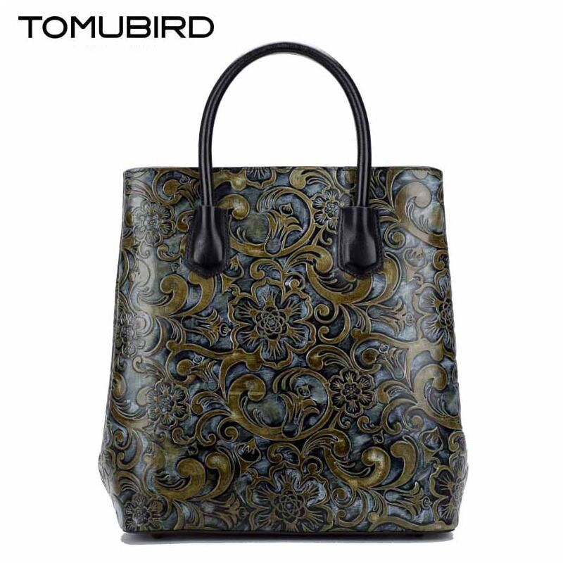 TOMUBIRD 2017 new superior cowhide leather Painting leather embossed women Leather Handbags Tote Genuine leather shoulder bag