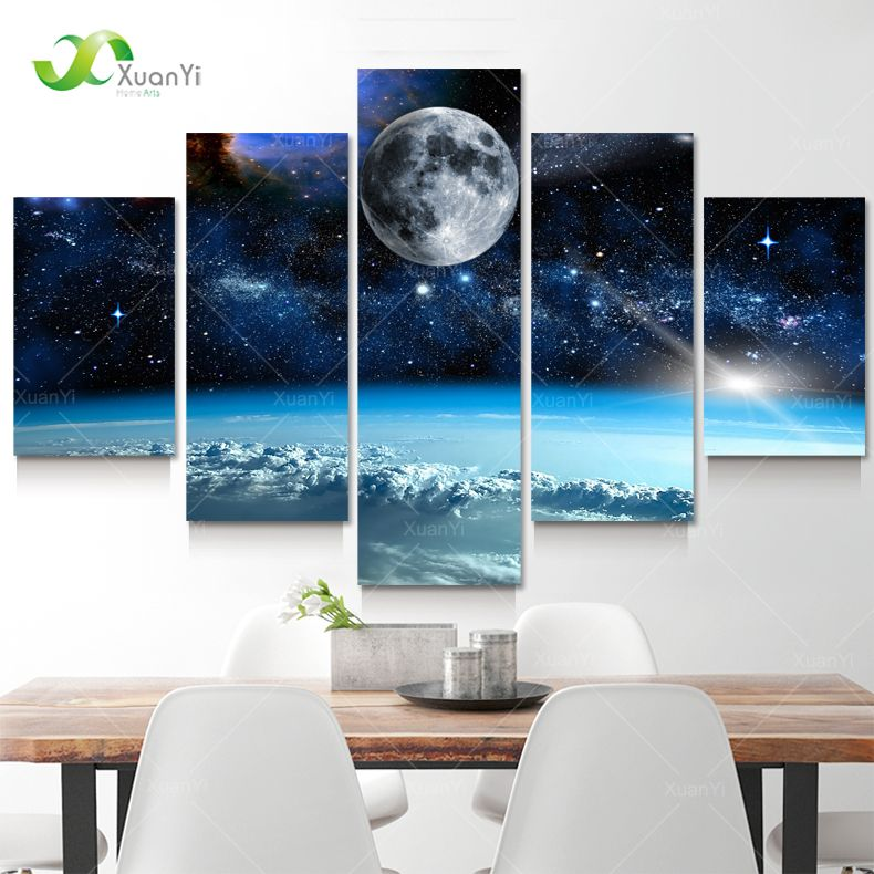 5 Panel Modern Printed Space Universe Landscape Paintings Canvas Picture <font><b>Cuadros</b></font> Earth Painting For Living Room No Frame XY284