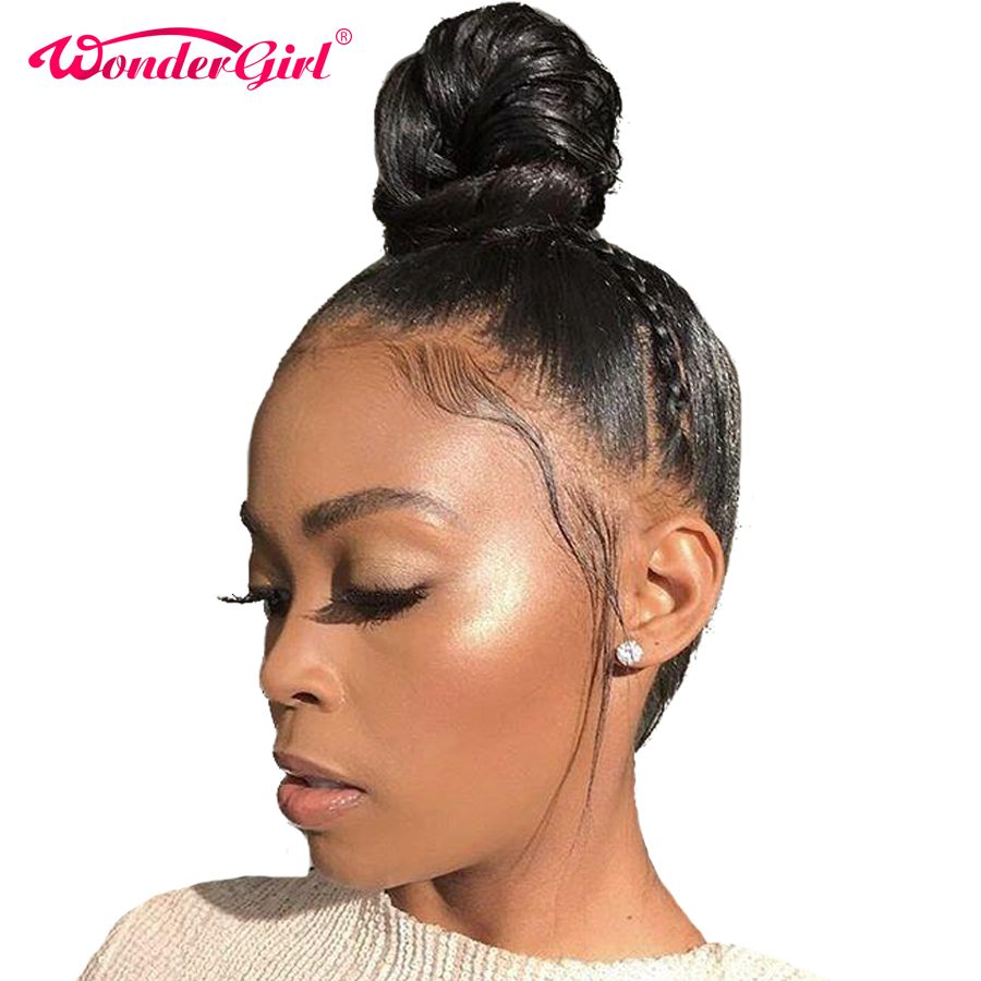 Wonder girl 360 Lace Frontal Wig Pre Plucked With Baby Hair Remy Brazilian Straight Lace Front Human Hair Wigs For Women Black