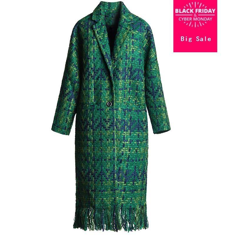 3 colors fashion new Wool Coat Women Slim long Tweed Jacket Fashion Female Outwear Green blue gray white Coat D310