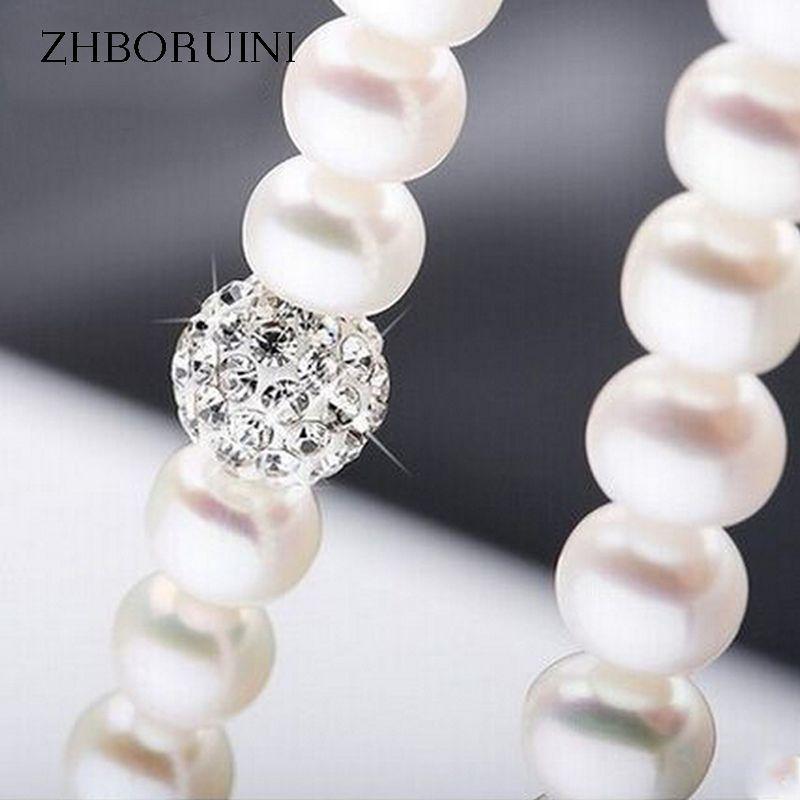 ZHBORUINI 2017 Perle Collier 925 Bijoux En Argent Sterling Pour Les Femmes 8-9mm Boule de Cristal Naturel Perles D'eau Douce Perle bijoux