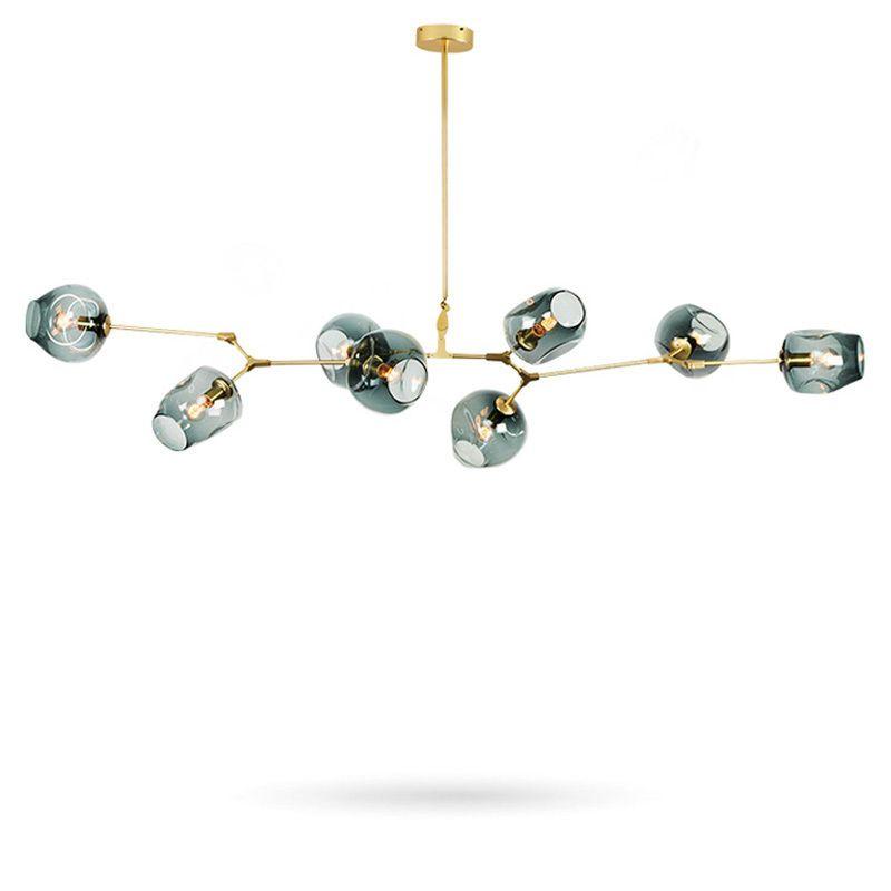Lustres modernes luminaires salon Restaurant décoration Branches en or noir pendentif lampe boule de verre ajuster l'angle