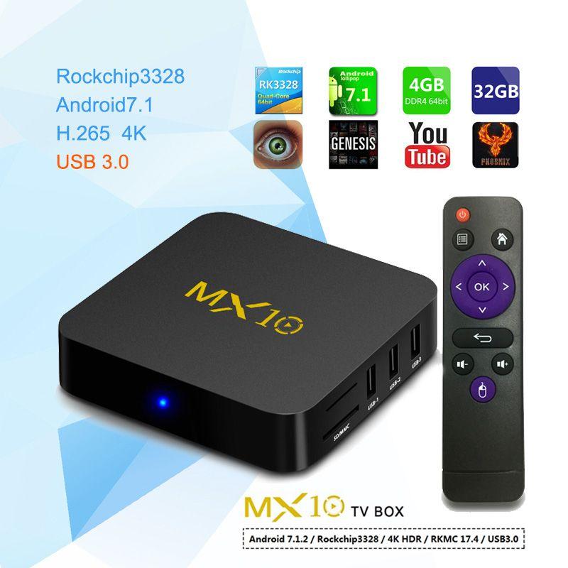 MX10 4GB DDR4 Ram 32GB Rom Smart TV Box Android 8.1 RK3328 Quad Core TVbox 3D 4K HDR Media Player Wifi USB 3.0 4G pk H96 max