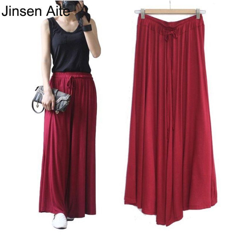 Jinsen Aite femmes d'été Modal décontracté pantalon à jambes larges lâche Harem pantalon taille élastique en plein air grande taille femme pantalon JS458
