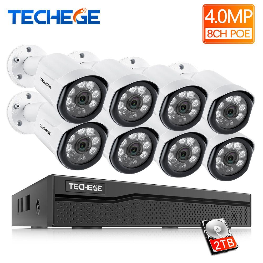 Techege 8CH POE System 4.0MP NVR H.265 Nachtsicht Im Freien Wasserdichte Netzwerk Kamera CCTV Sicherheit System Überwachung Kit