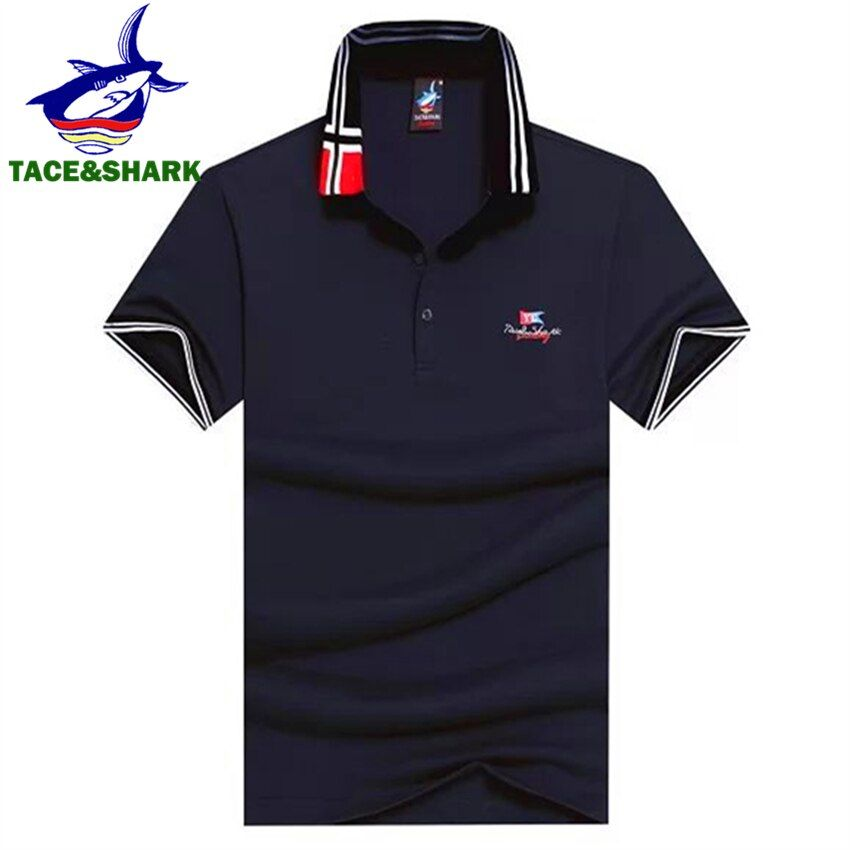 Tace&Shark Brand 2018 Fashion Men Polo Shirt Men Camisa Masculina Cotton Breathable Business Shark Men Polos Clothes 18 Color