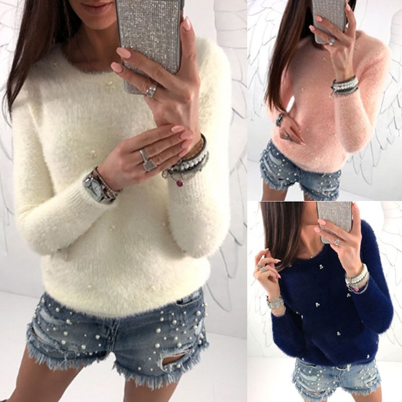 Free Shipping New Women Warm Longsleeve Knitted Sweater Loose Pullover Tops Outwear Coat Jumper Fuzzy Warm Fall Winter Clothes