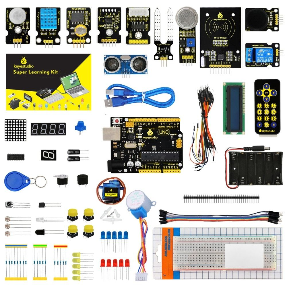 Keyestudio <font><b>Super</b></font> Starter kit/Learning Kit(UNO R3) for STEM Education with 32 Projects +User Manual+ RFID 1602+PDF(online)