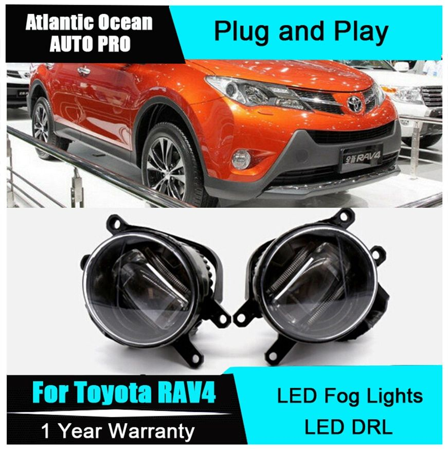 Auto Pro Car Styling LED fog lamps For Toyota RAV4 led DRL with lens 2009-2015 For Toyota RAV4 LED fog lights+led DRL parking