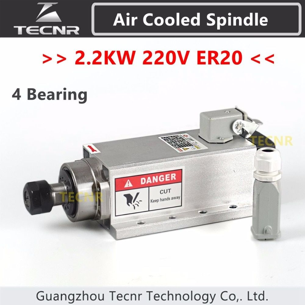 2.2KW air cooled spindle 220V 380V ER20 collet runout-off 0.01mm with 4 ceramic bearing